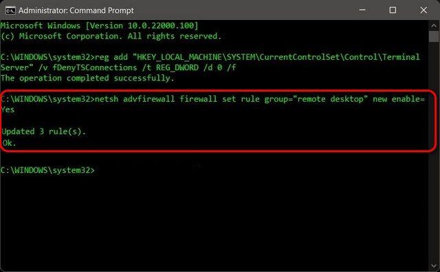 Remotedesktop durch Firewall zulassen.