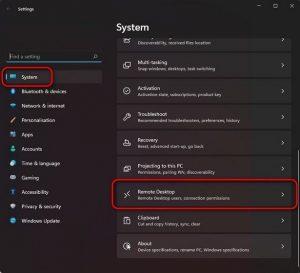 Aktivieren Sie Windows-Remotedesktop in den Einstellungen.