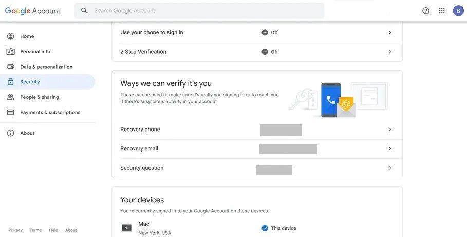 Informationen, die zum Wiederherstellen des Gmail-Kontos erforderlich sind.