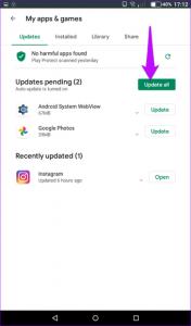 Ausstehende Apps aktualisieren